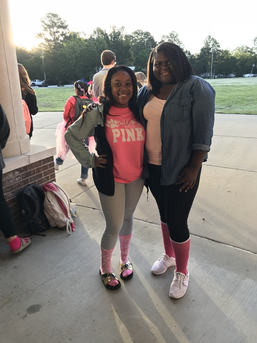 Check out the pink socks for Pink Out Day @SCHS @energybusschool #2ms