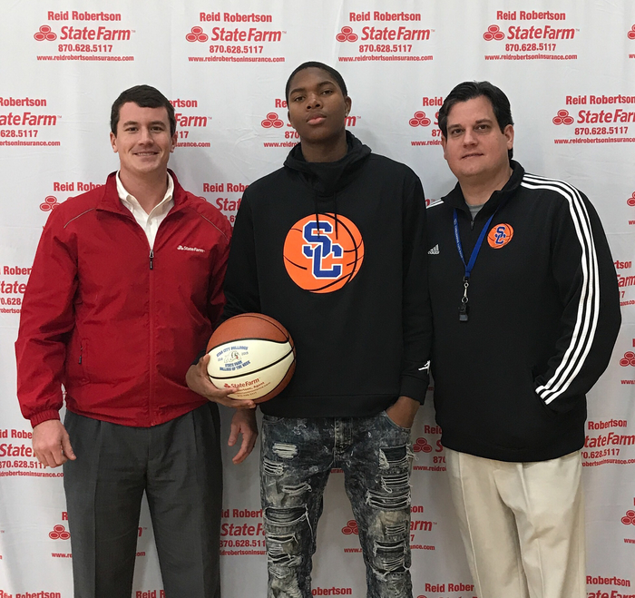 Congrats to Brendan Lams for being selected as State Farm Player Of The Week! Brendan had 12 pts 13 Rebounds and 5 Block shots against Dollarway !!