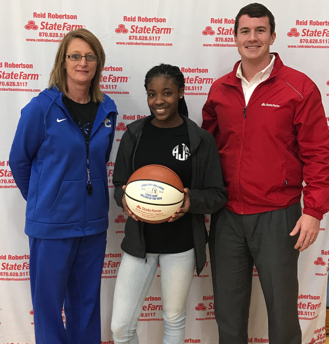 Congrats Arriana Johnson State Farm Player Of The Week in her performance against Dollarway!! She had 12 pts and 5 Rebounds!
