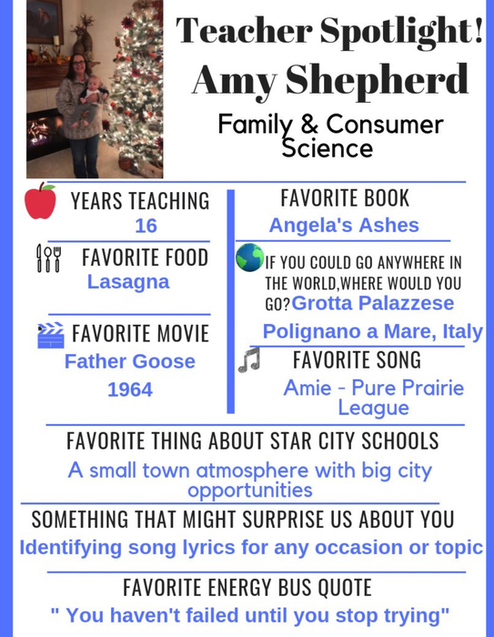 Teacher Spotlight, Amy Shepherd