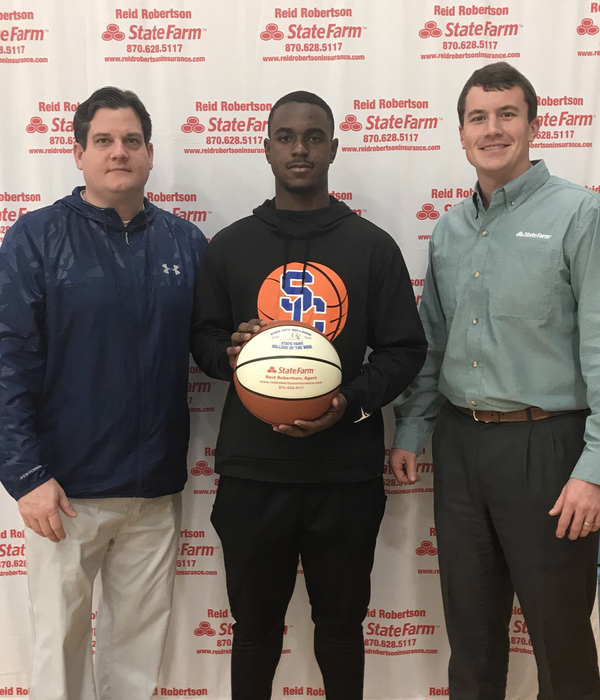 Congrats to Jahmar Knight for being selected as State Farm Player Of The Week! Jahmar had a huge shot at the buzzer to put the game into overtime against Marianna and had 11 pts in our game against Lake Hamilton Last week. He also had 4 Rb and 2 assist vs. Marianna !! #FASTER
