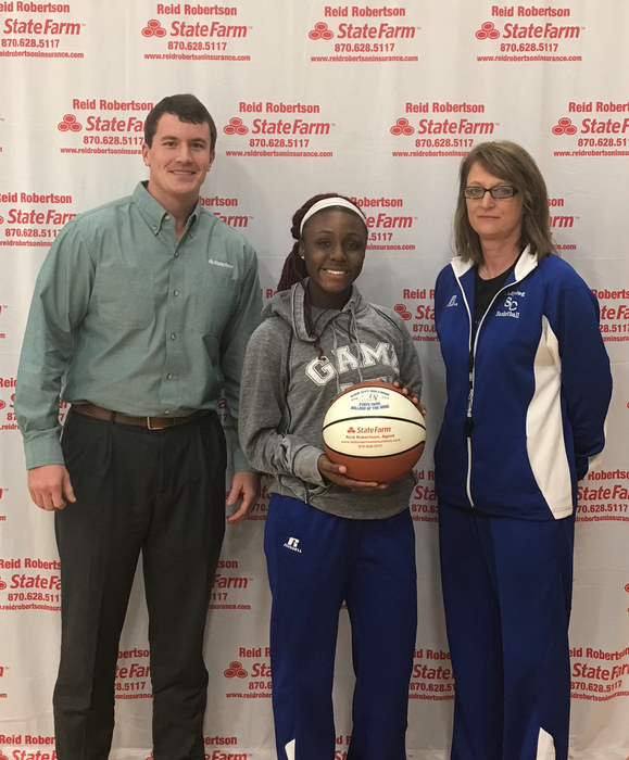Congrats to Janiya Johnson for being selected as State Farm Player Of The Week! Janiya had 14 pts 3 assist 3 Rbs 1 charge against Marianna. She had 28pts 4 steals 5 assists and 1 charge against Lake Hamilton