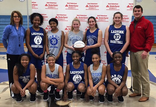 Congrats to the Lady Dogs for being selected as State Farm Players Of The Week! Had a great team win to become Lake Hamilton Tournament Champions and improve to 13-2 on the season!! The ball is going with the championship trophy!!