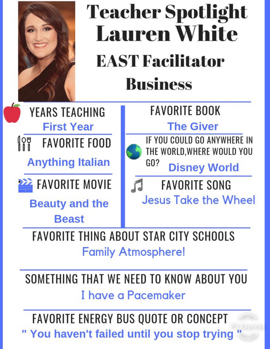 This weeks Teacher Spotlight is a Star City graduate and is doing a great job of involving her East Program in the community!