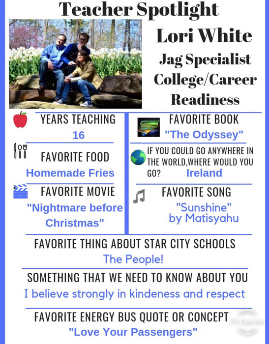 This weeks Teacher Spotlight is Lori White Great Educator even better person!