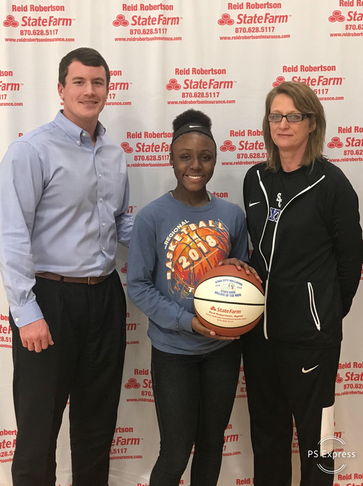 Congratulations to Janiya Johnson for being selected as State Farm Player Of The Week! Janiya had 33 pts, 6 rebs, 2 assists vs. Monticello and 18 pts, 7 rebs, 4 assists vs. Warren!