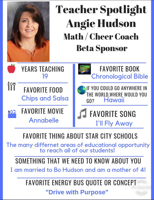 This Weeks Teacher Spotlight is Angie Hudson. Thanks for your support in our athletic programs and all your hard work with Beta!