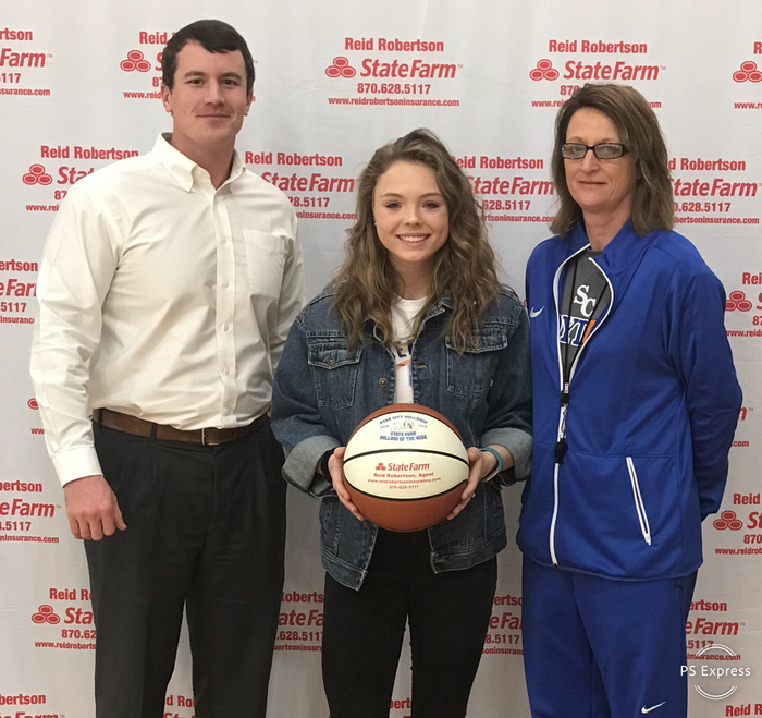 Congratulations to Olivia Reed for being selected as State Farm Player Of The Week! Olivia had 7pts, 1Rb and was 3-4 from the floor vs. Magnolia!