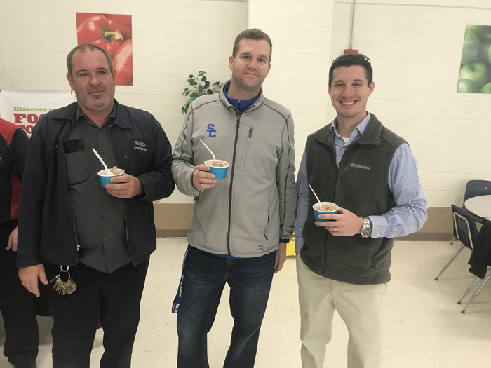 Mr. Baguette, Mr. Laffoon, and Mr. Frizzell trying out the yogurt!