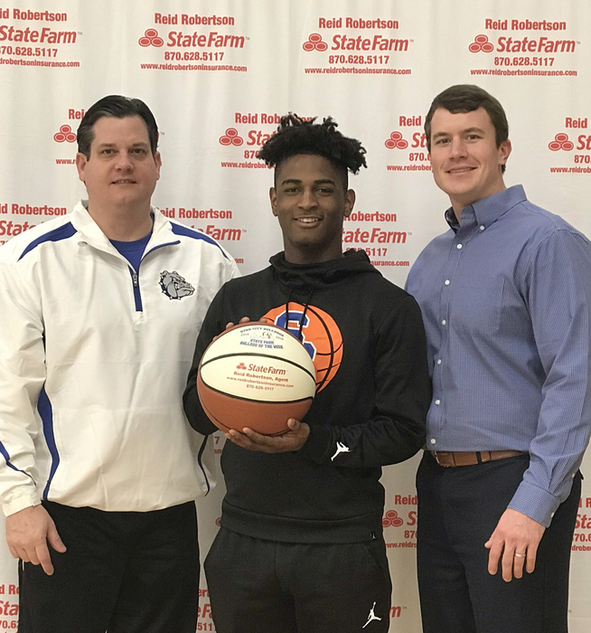 Congrats to Marvion Scott for being selected as State Farm Player Of The Week! Marvion had 30 pts in our road win against Crossett. Marvion also had 9 assist!! #FASTER