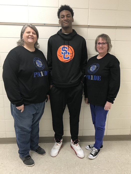 Mrs. Shelley Owen and Ms. Julie Giacomino shining their support for Jujuan Jacksonsnd all the Bulldog Badketball players as they play for State Champs.