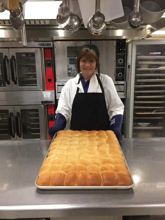 Mrs. Becky with her awesome rolls