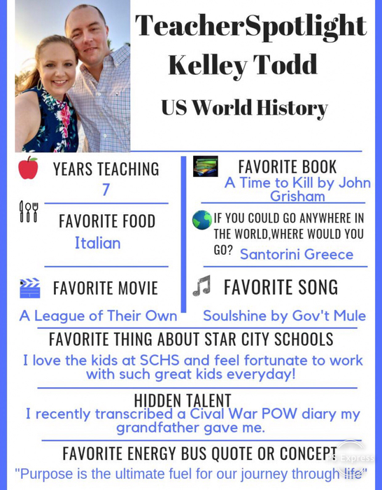This Weeks Teacher Spotlight is Kelley Todd! Teachers like Mrs. Todd are why we have such a great school! #ChooseStarCity