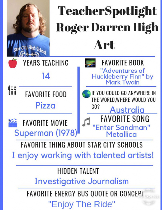 This weeks Teacher Spotlight is Roger High! Thanks Mr. High for all you have done to grow our art program @starcityhigh!  #ChooseStarCity