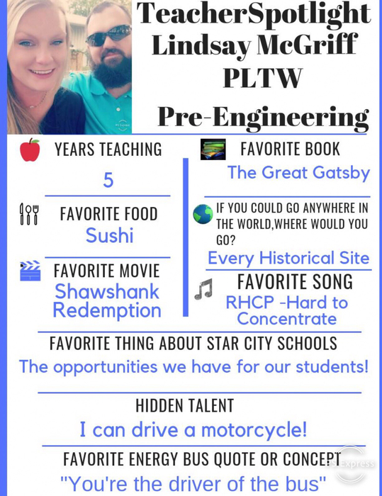 This weeks Spotlight is Lindsay McGriff! She is doing some great work with our PLTW program! #ChooseStarCity