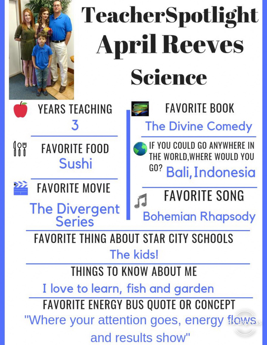 This weeks spotlight is April Reeves! April loves teaching @StarCityHigh and it shows in her work with our students!