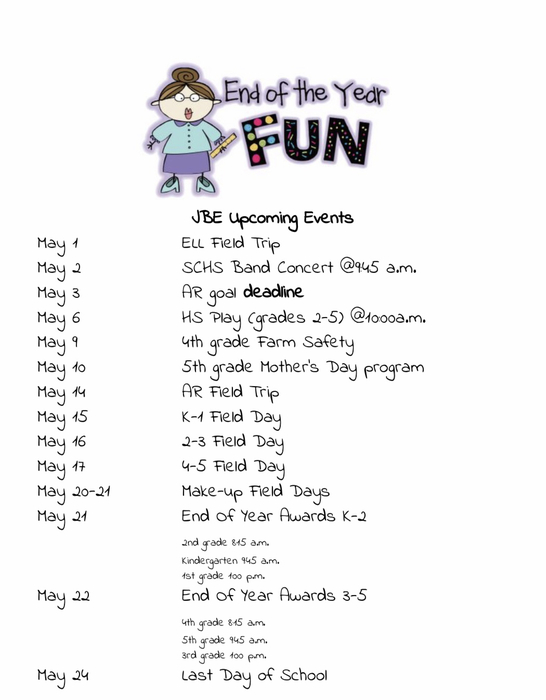 JBE Upcoming Events May 2019