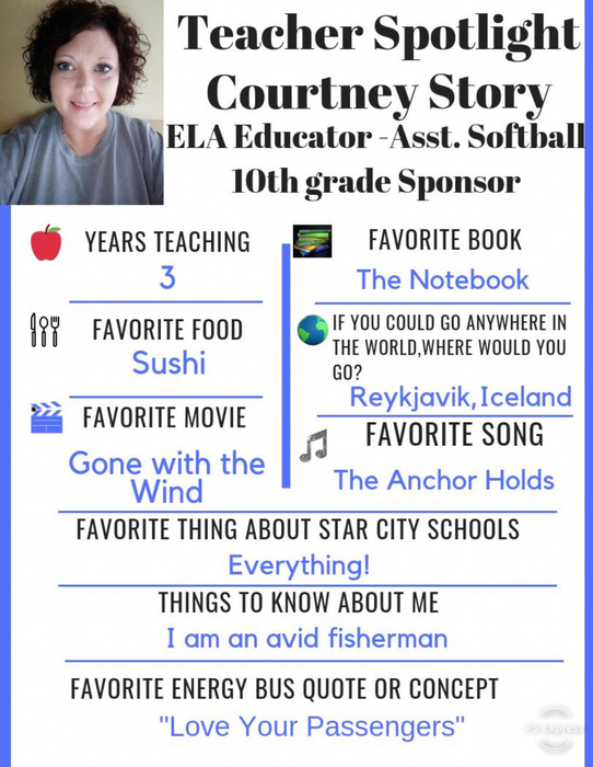 This weeks Teacher Spotlight is Courtney Story. We appreciate all her hard work and dedication to ensure student success!