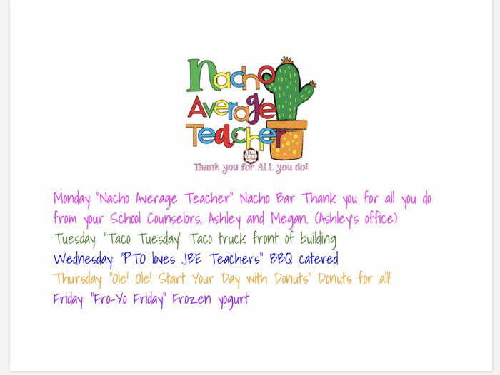 Teacher Appreciation Week at JBE