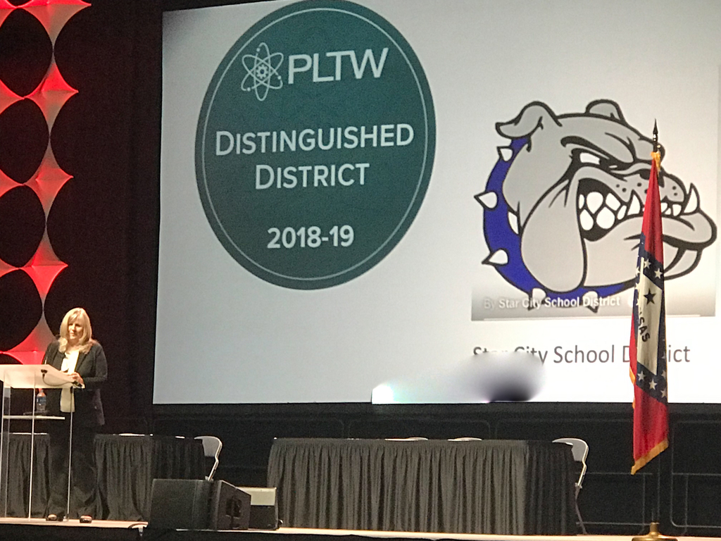 Star City recognized at the 2019 ADE Summit for Empowering, Engaging and Inspiring students with PLTW programs!