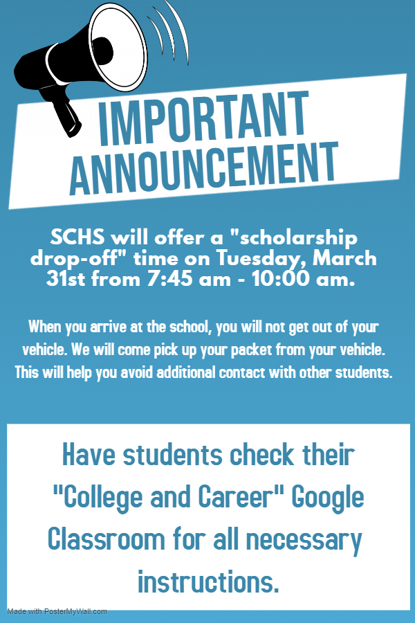 SCHS Scholarship Drop Off