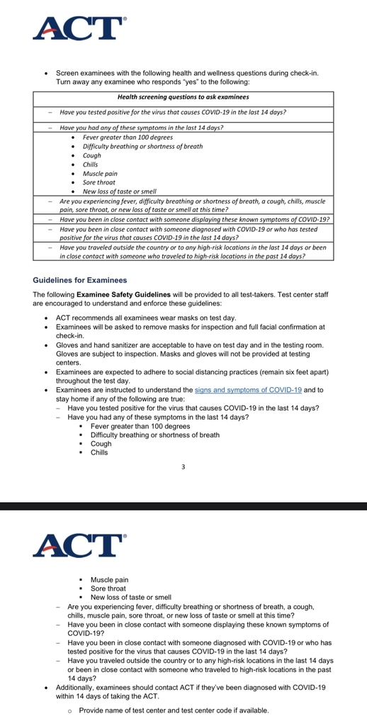 ACT Health Recommendations