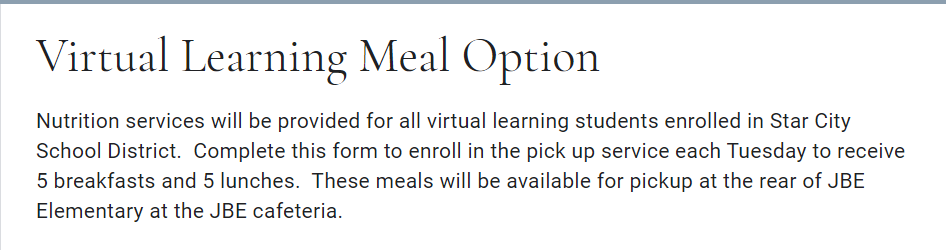 virtual learning meal optioon