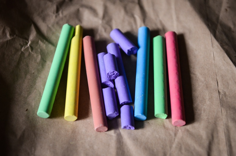 Colored chalk lies in a neat pile